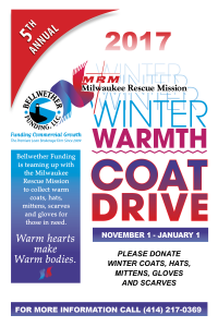 Bellwether Funding 5th annual coat drive with milwaukee rescue mission
